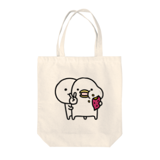 mame&coのトリとまるいののトートバック Tote bags