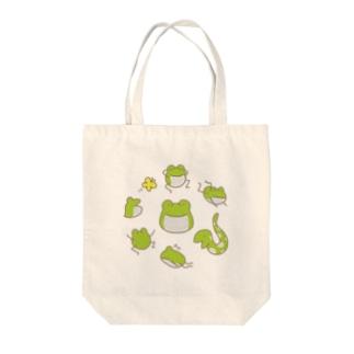 【けこがえる】ぐるぐる Tote bags