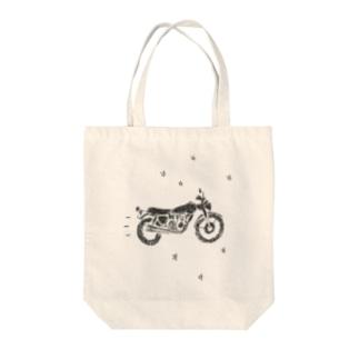 バイクで走り去る トートバッグ
