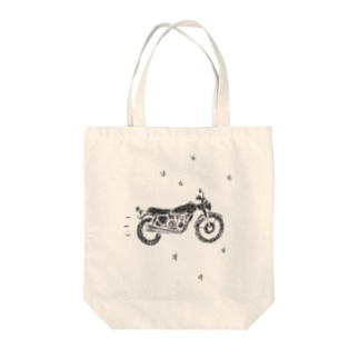 バイクで走り去る Tote bags