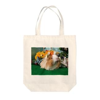 モルモットのちくわ姫・花かんむり Tote bags