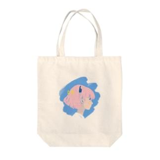 ミニマルポップガール Tote bags