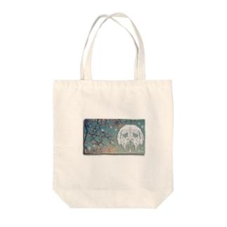 切刻亭の土佐犬切り絵×新潟県湯沢町・苗場の桜 Tote Bag
