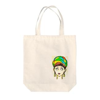 カラフルアフロ Tote bags