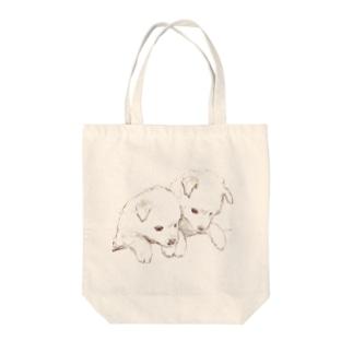 愛らしい兄弟子犬 Tote bags