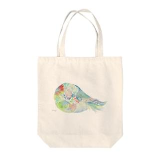 オウムガイ 水彩画 Tote bags