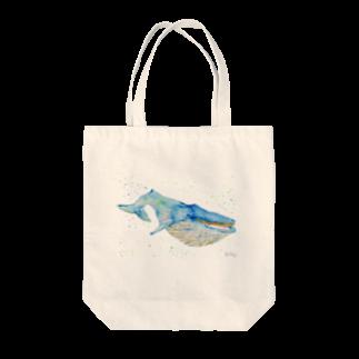 羊の水彩画クジラ Tote bags