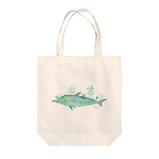 水彩画 植物イルカ Tote bags