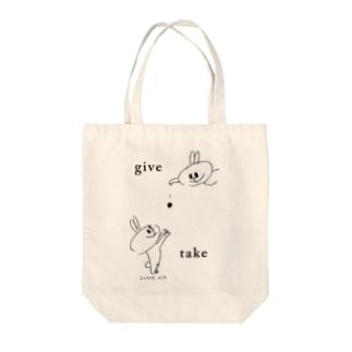 スーパーうさ give & take Tote bags
