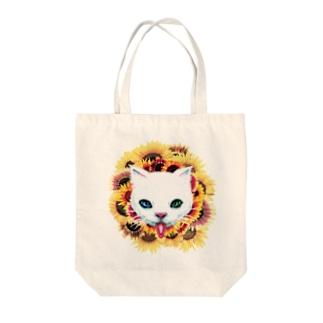 白猫と向日葵 トートバッグ