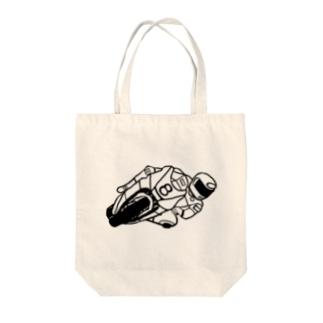 バイクレース Tote bags