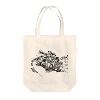 Doggy Racer Tote bags