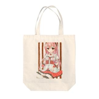 ピンクメイドさん Tote bags