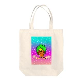 虹色もくもくモックン Tote bags