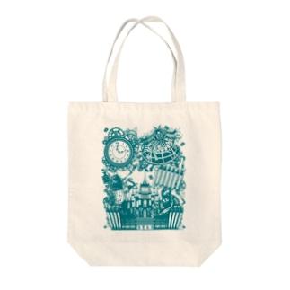 スチームパンク★不思議の国のアリス-ブルー Tote bags