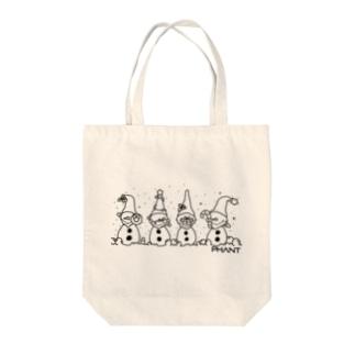 雪だるま/黒 Tote Bag