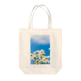 青い空白い花 トートバッグ