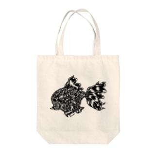 "Animalia Kinky "" Black Gold Fish "" Tote bags"