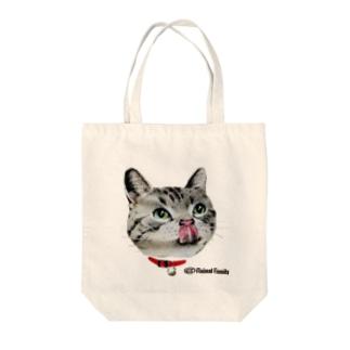 ねこ-1 ペロリ!美味しそう 手描きイラスト Tote bags