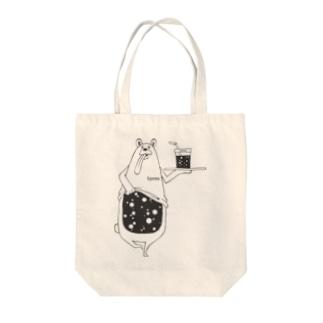 I.gasu peachbear black 【アイガス】 Tote bags
