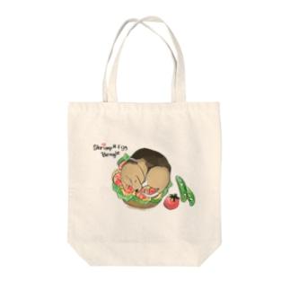shrimp and egg beagle Tote bags