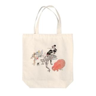 百鬼夜行絵巻 赤く丸い妖怪・三つ目の妖怪・木槌を持った妖怪・槍を持った妖怪【絵巻物・妖怪・かわいい】 Tote bags