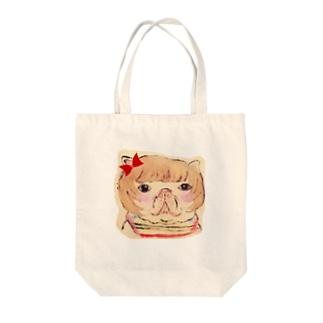 フレンチブルドッグのカトリーヌちゃん🎀 顔型 Tote bags