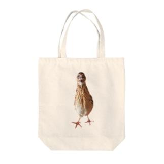 伸びるウズラ Tote bags