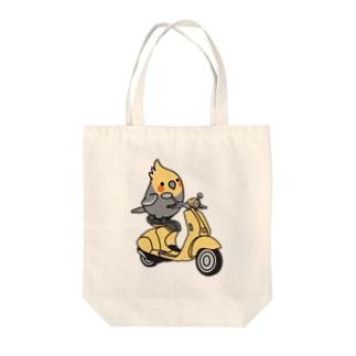 Cody the LovebirdのChubby Bird バイクに乗ったオカメインコ Tote bags