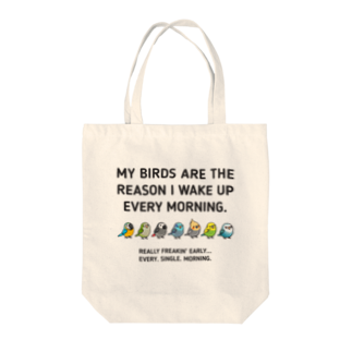 Cody the LovebirdのChubby Bird コンゴウインコ、オキナインコ、ヨウム、マメルリハ、オカメインコ、セキセイインコ、ちょっと意地悪なコザクラインコ (黒の生地は黒の文字が見えづらい為、選択しないようお願いします。 Tote bags