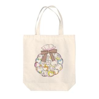 ぎゅうぎゅうなうさマシュマロココアちゃん Tote bags