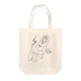 ホップステップジャンプ Tote bags