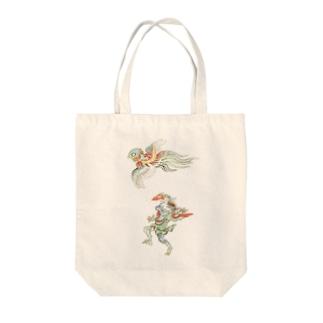 百鬼夜行絵巻 鳥兜の付喪神と青鬼【絵巻物・妖怪・かわいい】 Tote bags
