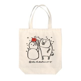 騒がしい猫 カウントダウン 雪だるま Tote bags