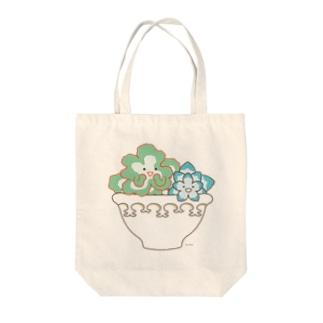 多肉植物たにくさん (白いプランターに集合) Tote bags