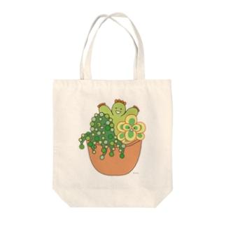 多肉植物たにくさん (テラコッタのプランターに集合) Tote bags