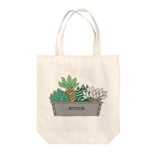 多肉植物たにくさん(パウンドケーキ型に集合) Tote bags