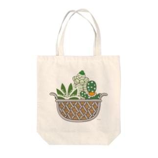 多肉植物たにくさんの多肉植物たにくさん (ワイヤーフレームに集合) Tote bags