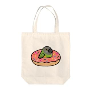 Chubby Bird ネズミガシラハネナガインコ in ドーナツ Tote bags
