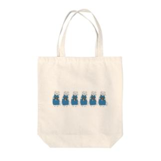 巻きしいたけ柄マキシ丈ワンピを着た猫がいっぱい Tote bags