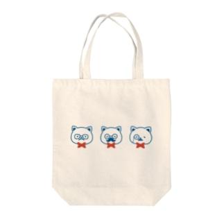 ネコとヒゲとメガネ Tote bags