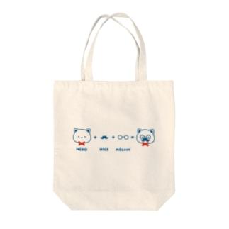 ネコ+ヒゲ+メガネ Tote bags