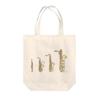 サックスとうさぎ Tote bags