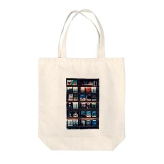 bookshelf. Tote bags