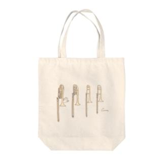 トロンボーン兄弟とうさぎ Tote bags