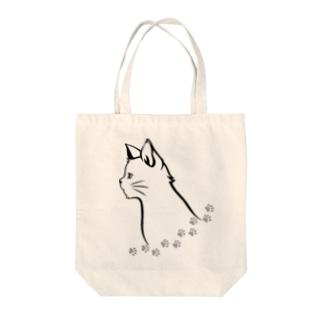 Cor Leonis SUZURI storeの猫と足跡 Tote bags