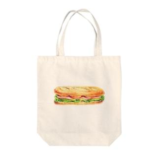 ハムとチーズのサンドイッチ Tote bags