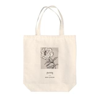 peony_A_White Tote bags