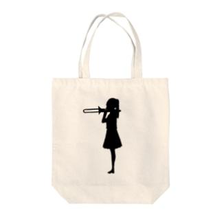 吹奏楽 トロンボーンを吹く女の子 Tote bags