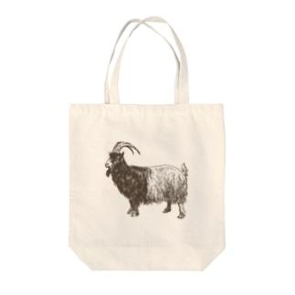 おじいちゃんヤギ Tote bags